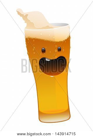 character glass of delicious fresh cold beer isolated