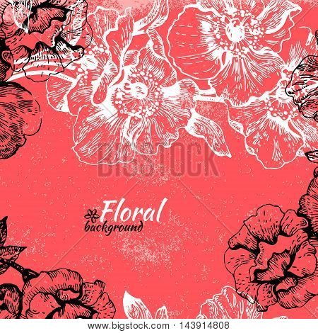 Vintage floral background. Hand drawn illustration of roses