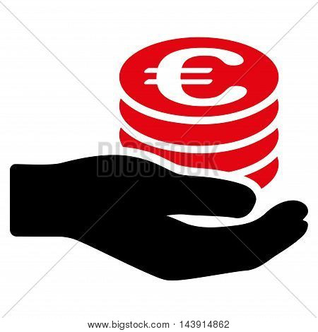 Euro Salary icon. Vector style is bicolor flat iconic symbol with rounded angles, intensive red and black colors, white background.