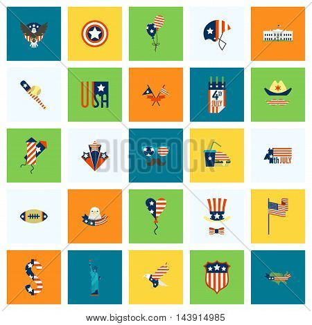 4th of July, Independence Day of the United States, Simple Flat Icons. Vector