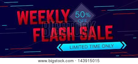 Weekly Sale and special offer banner on dark background. Sale background. Sale poster. Sale vector. Vector illustration.