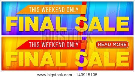 Two Final sale banner. For Website. Sale and discounts banner. Vector illustration