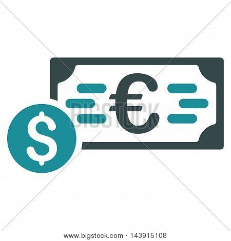 Dollar and Euro Cash icon. Vector style is bicolor flat iconic symbol with rounded angles, soft blue colors, white background.