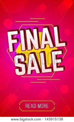 Final sale banner. For Website. Sale and discounts banner. Vector illustration