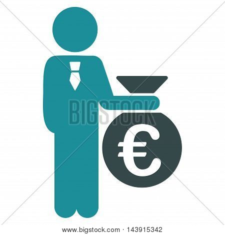 Euro Banker icon. Vector style is bicolor flat iconic symbol with rounded angles, soft blue colors, white background.