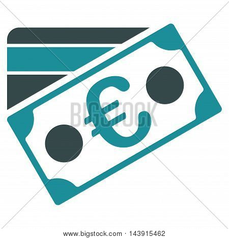 Euro Banknote and Credit Card icon. Vector style is bicolor flat iconic symbol with rounded angles, soft blue colors, white background.