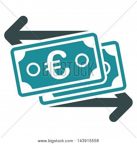 Euro Banknotes Change icon. Vector style is bicolor flat iconic symbol with rounded angles, soft blue colors, white background.