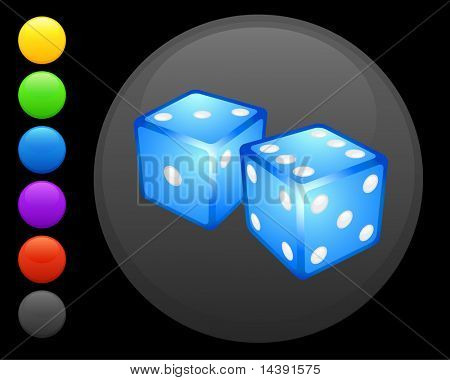 dice icon on round internet button original vector illustration 6 color versions included