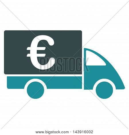 Euro Collector Car icon. Vector style is bicolor flat iconic symbol with rounded angles, soft blue colors, white background.