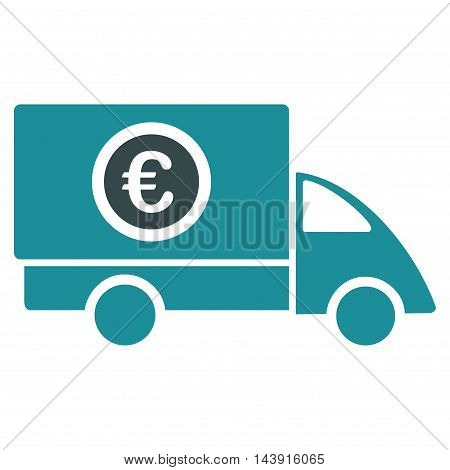 Euro Delivery icon. Vector style is bicolor flat iconic symbol with rounded angles, soft blue colors, white background.