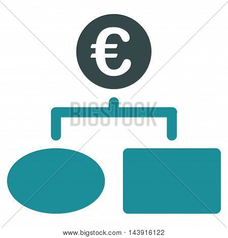 Euro Flow Chart icon. Vector style is bicolor flat iconic symbol with rounded angles, soft blue colors, white background.