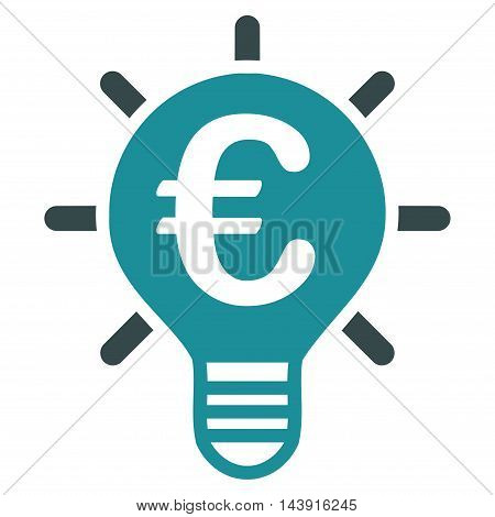 Euro Innovation icon. Vector style is bicolor flat iconic symbol with rounded angles, soft blue colors, white background.