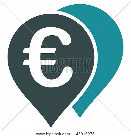 Euro Map Markers icon. Vector style is bicolor flat iconic symbol with rounded angles, soft blue colors, white background.