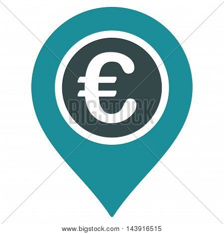 Euro Pointer icon. Vector style is bicolor flat iconic symbol with rounded angles, soft blue colors, white background.