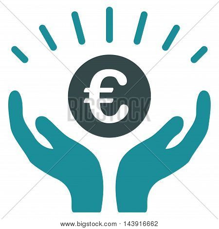 Euro Prosperity icon. Vector style is bicolor flat iconic symbol with rounded angles, soft blue colors, white background.