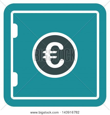 Euro Safe icon. Vector style is bicolor flat iconic symbol with rounded angles, soft blue colors, white background.