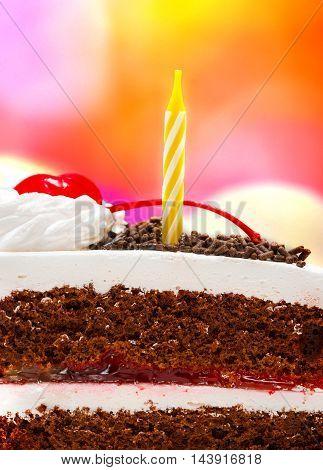Black Forest Gateau Indicates Chocolate Cake And Birthday