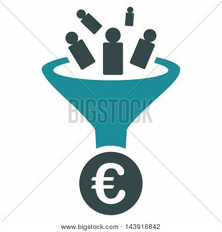 Euro Sale Conversion icon. Vector style is bicolor flat iconic symbol with rounded angles, soft blue colors, white background.