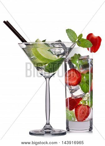 Set of mojito cocktails with mint lime and strawberry isolated on white background.