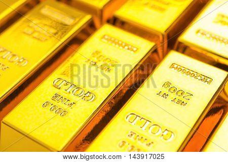 several gold bars close up horizontal composition