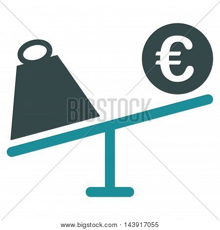 Euro Trade Swing icon. Vector style is bicolor flat iconic symbol with rounded angles, soft blue colors, white background.