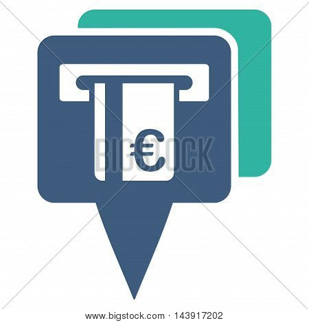 Euro Atm Pointers icon. Vector style is bicolor flat iconic symbol with rounded angles, cobalt and cyan colors, white background.