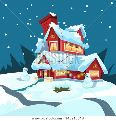 Christmas Eve Holiday House Winter Snow, Snowman Gift Greeting Card Flat Vector Illustration