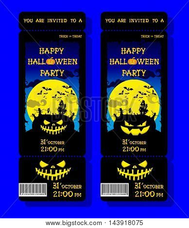 Set Of Halloween Ticket On Holiday Party With Pumpkin, Scary Trees, Moon And Monster Bats On Dark Bl