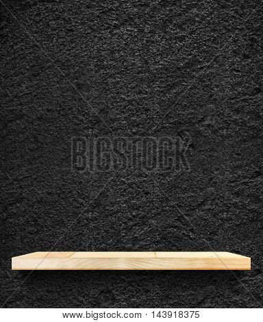 Empty Wooden Shelf At Black Stone Wall,template Mock Up For Display Of Product,business Presentation