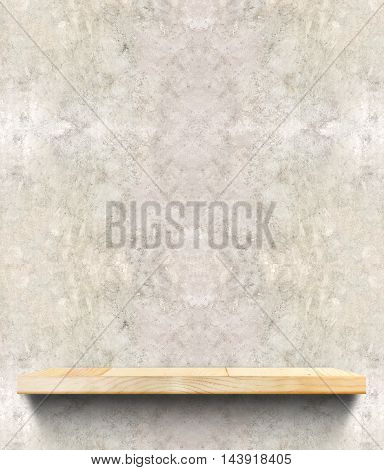 Empty Wooden Shelf At Concrete Wall,template Mock Up For Display Of Product,business Presentation