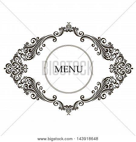 Vintage baroque frame scroll ornament engraving border floral retro pattern antique style acanthus foliage swirl decorative design element filigree calligraphy wedding - vector