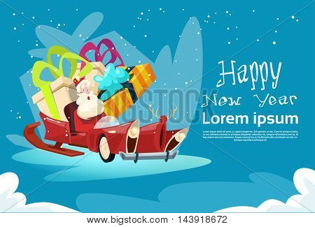 Empty Santa Claus Sleigh With Present Box Christmas Celebration New Year Greeting Card Flat Vector Illustration