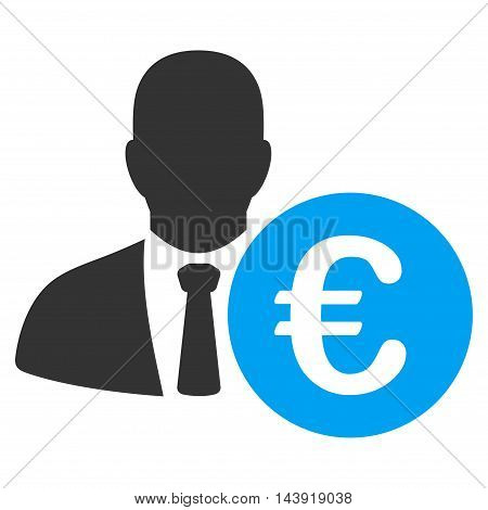 Euro Banker icon. Glyph style is bicolor flat iconic symbol, blue and gray colors, white background.
