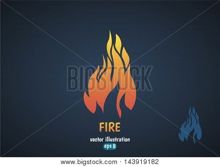 Fire flame silhouette logo. Burning fire icon.