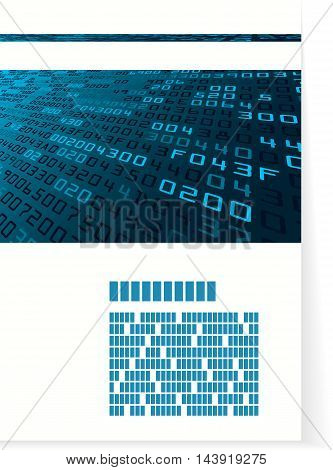 Pattern for brochure or cover with hex code. Vector illustration