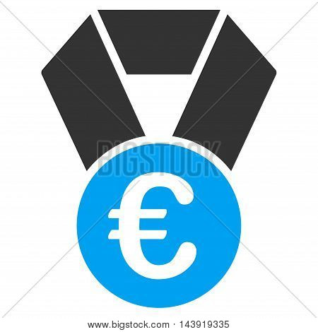 Euro Champion Medal icon. Glyph style is bicolor flat iconic symbol, blue and gray colors, white background.