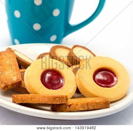 Relaxing Coffee Cookies Shows Brew Cracker And Break