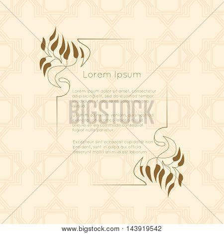 Border designs for greeting cards. Template design for invitation, labels, poem writing. Vintage concept.