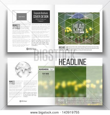 Set of annual report business templates for brochure, magazine, flyer or booklet. Colorful polygonal floral background, blurred image, yellow flowers on green, modern triangular texture.
