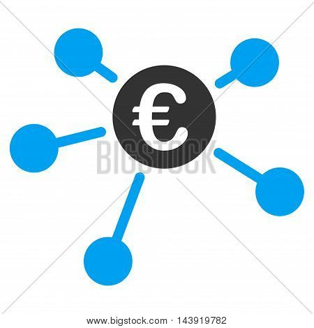 Euro Links icon. Glyph style is bicolor flat iconic symbol, blue and gray colors, white background.