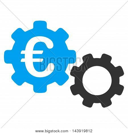 Euro Mechanics icon. Glyph style is bicolor flat iconic symbol, blue and gray colors, white background.