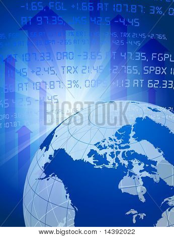 Globe on Blue Stock Market Background Original Vector Illustration