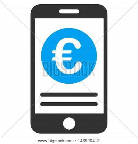 Euro Smartphone Banking icon. Glyph style is bicolor flat iconic symbol, blue and gray colors, white background.