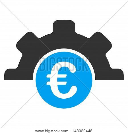 Euro Technology icon. Glyph style is bicolor flat iconic symbol, blue and gray colors, white background.