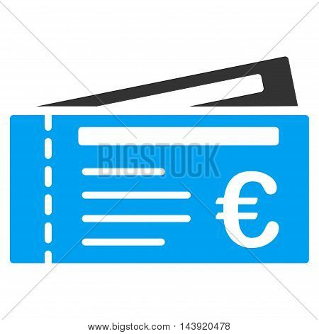 Euro Tickets icon. Glyph style is bicolor flat iconic symbol, blue and gray colors, white background.