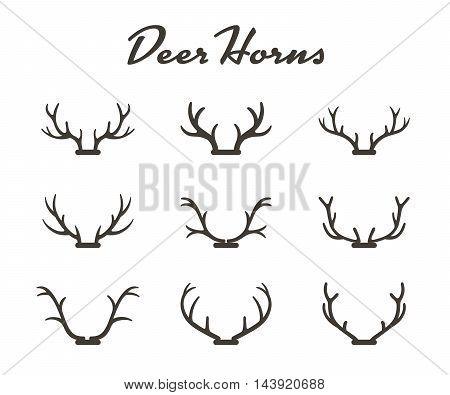 Vintage silhouettes of different deer horns, vector illustration on white background