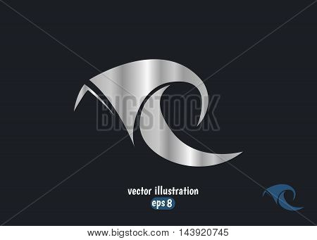 R letter logo design template. Abstract silver letter R logo.