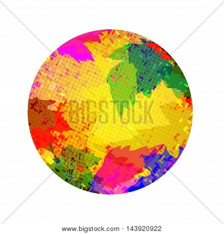 Round abstract vector background of multi-colored leaves with space for text