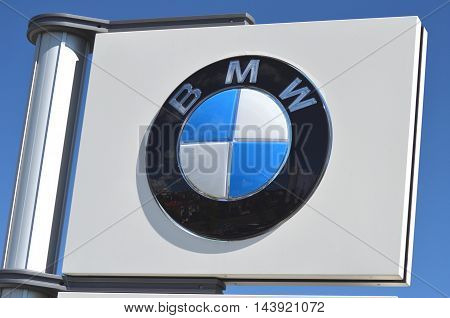 CIRCA AUGUST 2016 - GDYNIA: Logo of BMW. Bayerische Motoren Werke AG is German luxury vehicles, motorcycle, and engine manufacturing company founded in 1916.