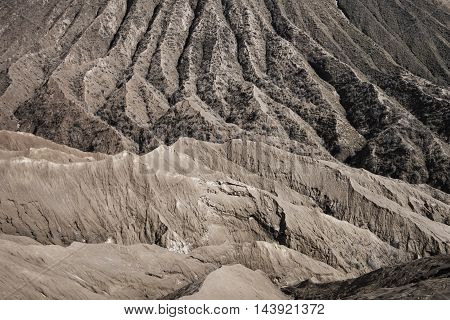 Geological layers of old erupted volcano, Mount Bromo, Indonesia